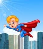 动画片超级英雄男孩有摩天大楼背景 库存例证