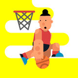 动画片跳跃与球的蓝球运动员 传染媒介illustrati 库存例证