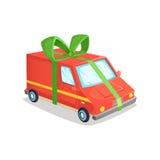 动画片送货车的传染媒介例证 构思设计有丝带的一辆卡车在形式礼物 图库摄影