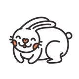动画片逗人喜爱的兔子被隔绝的传染媒介例证 免版税库存照片