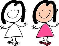 动画片逗人喜爱的愉快的小女孩 免版税库存照片