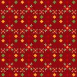 动画片逗人喜爱的红色开花与几何元素的无缝的样式 库存照片