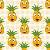 动画片逗人喜爱的菠萝无缝的样式 免版税库存照片