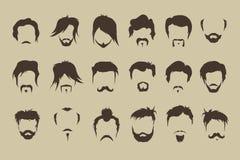 动画片重点极性集向量 头发,髭,胡子 库存例证