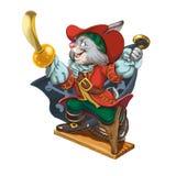 动画片野兔对冒险的海盗电话 免版税库存图片