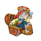 动画片野兔海盗坐与首饰的胸口 免版税库存图片