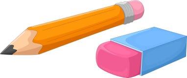 动画片铅笔和橡皮擦 免版税库存照片