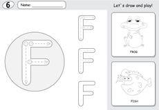 动画片青蛙和鱼 字母表追踪的活页练习题:文字A-Z a 库存图片