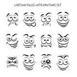 动画片面孔激动被设置的 免版税库存图片
