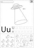 动画片飞碟、独角兽和男孩单轮脚踏车的 追踪w的字母表 皇族释放例证