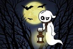 动画片鬼魂、森林、满月和棒 免版税库存照片