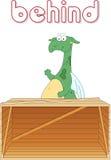 动画片龙在箱子后站立 在图片的英语语法 免版税库存图片