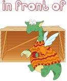 动画片龙读在箱子前面的一本书 英国语法 库存图片