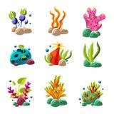 动画片水下的植物和生物 免版税库存照片
