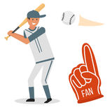 动画片击传染媒介的棒球运动员象设计美国比赛运动员体育同盟设备 向量例证