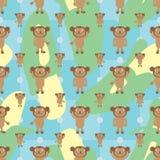 动画片猴子对称香蕉无缝的样式 库存例证
