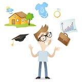 动画片年轻成人未来规划事业家庭 免版税图库摄影