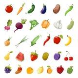 动画片水果和蔬菜有机健康大传染媒介象收藏 向量例证