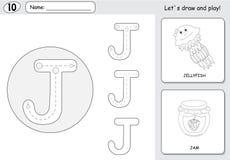 动画片水母和果酱 字母表追踪的活页练习题:写A 库存图片