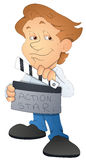 漫画人物电影导演- -传染媒介例证 免版税库存照片
