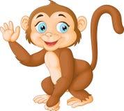 动画片滑稽的猴子挥动的手 皇族释放例证