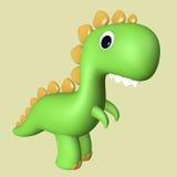 动画片滑稽的绿色3D暴龙雷克斯恐龙 库存图片