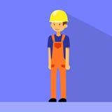 动画片建筑工人字符平的传染媒介 免版税库存图片