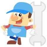 动画片水管工有白色背景 免版税库存照片