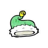 动画片绿色圣诞老人帽子 免版税库存照片