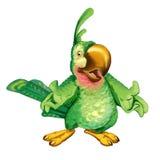 动画片绿色鹦鹉在参观邀请 免版税库存照片