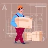 动画片建造者运载箱子佩带的制服和盔甲建筑工人在抽象计划背景男性工作员 向量例证