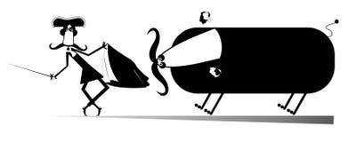 动画片bullfigt例证 免版税库存图片