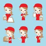 动画片deliverywoman 向量例证