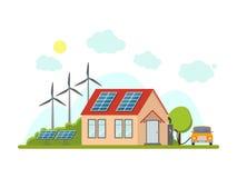 动画片Eco家庭外部门面 向量 免版税库存图片