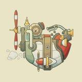 动画片steampunk称呼了飞行飞艇与 库存图片