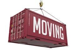 移动-红色垂悬的货箱 免版税库存图片