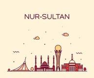 努尔苏丹阿斯塔纳地平线哈萨克斯坦传染媒介城市 皇族释放例证
