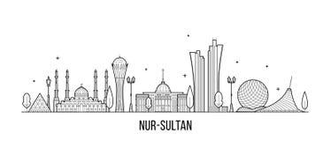 努尔苏丹阿斯塔纳地平线哈萨克斯坦市传染媒介 库存例证