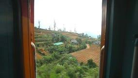 努沃勒埃利耶,斯里兰卡- 2014年3月:努沃勒埃利耶乡下的看法从移动的火车的 斯里兰卡的铁路运输 影视素材