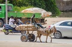 努瓦克肖特,毛里塔尼亚- 2013年10月08日:与车和驴货车的街道场面 库存照片