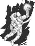 劫掠星的宇航员或太空人剪影  库存图片