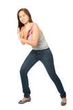 费劲的反对对象的妇女倾斜的肩膀 免版税库存图片