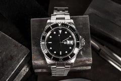 劳力士潜水艇人员手表 库存照片