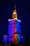劳动人民文化宫和科学在晚上。华沙,波兰 免版税图库摄影