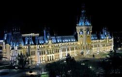 劳动人民文化宫Iasi,罗马尼亚-夜视图 库存图片