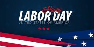 劳动节推销活动,广告,海报,横幅,与美国国旗的模板 美国劳动节墙纸 证件折扣 向量例证