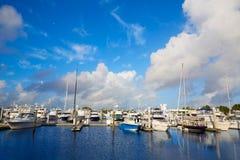 劳德代尔堡小游艇船坞小船佛罗里达美国 库存图片