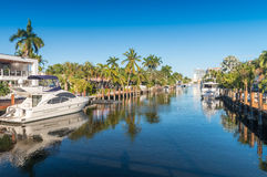 劳德代尔堡,佛罗里达美丽的运河  库存图片