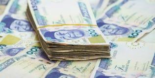 劳斯和捆绑奈拉兑现在金字塔堆的当地货币 免版税库存图片