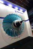 劳斯莱斯在显示的喷气机引擎模型在新加坡Airshow 免版税库存图片